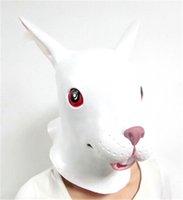 Wholesale Latex Rabbit Mask - Wholesale-Halloween Anima mask Adult Cute White Rabbit Latex Mask Party slipknot silicone mask