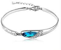 österreich bangle großhandel-Neue Frauen Art Luxury Blue Österreich Diamant Armband 925 Sterling Silber überzogene Glas Schuhe Armreif