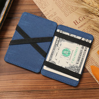 portefeuille de clip d'argent rouge achat en gros de-super slim simple cuir magie elastique argent clip id mini porte-cartes porte-monnaie portefeuille 6 titulaires bleu rouge