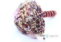 Wholesale High End Bridal Bouquets - Purple heart-shaped brooch bouquet custom wedding supplies jewelry bridal bouquet DIY, bride holding flowers, high-end custom handmade, Free