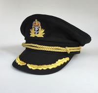 blue captain hat - Yachting Cap Yacht Captain Hat Navy Sailor Military Hats Black Party Hats Costume Uniform