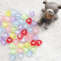Wholesale Heart Alphabet Bead - 500 pcs cute heart assorted colorful alphabet letter acrylic beads 11 mm with 4 mm hole