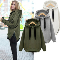 Wholesale Thick Neck Jackets - Arm Green New Winter Autumn Loose Hooded Jacket Plus Size Thick Velvet Long sleeve Sweatshirt Korean Style Hoodies 500g pc OXL092901