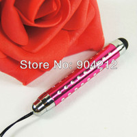 алюминиевая ручка оптовых-Wholesale- Boom Capacitive Touch Screen Touch Pen Bling Crystal Diamond Aluminum Stylus Pen for  iPad,With Dust Plug