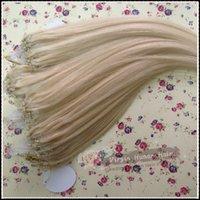 """Wholesale Lightest Blonde Micro Loop Hair - 16""""18""""20""""22""""24""""26"""" Micro Ring Loop Beads Human Hair Extensions 100s #04 meddium brown 613 Lightest Bleach Blonde"""