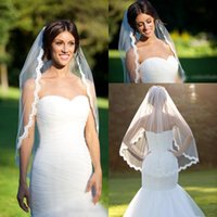 Wholesale White One Shoulder Free - 2017 Cheap Wedding Veils White Ivory Lace Bridal Veils Simple Appliques Edged One Layer Bridal Accessories Free Shipping