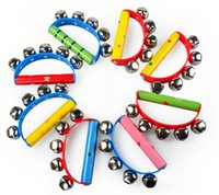 Wholesale Kids Musical Bells - New Tambourine KTV Party Kids Game Musical Toy Hand Held Tambourine Bell Metal Jingles Ball Percussion