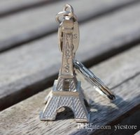 Wholesale Eiffel Tower Keyrings - couple lovers key ring advertising gift keychain Alloy Retro Eiffel Tower key chain tower French france souvenir paris keyring keyfob cut