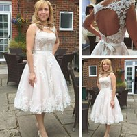 Wholesale Tea Length Open Back Wedding - Country Tea Length Wedding Dress 2017 Sheer Jewel Neck Sleeveless Lace Appliques Open Back Cheap Short Bridal Gowns with Sash