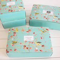 blaue süßigkeiten pakete großhandel-Freies Verschiffen 20PCS große blaue Blumenvogeldekoration-Bäckereipaketnachtischsüßigkeitskuchenkuchenverpackungskasten-Geschenkboxen liefern Bevorzugungen
