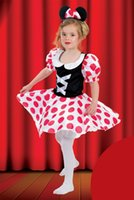Wholesale Summer Set Minnie 2pcs - Fashion New Cute cartoon Minnie polka dots dress Bow headbend 2pcs sets kies party dress Children's Cosplay girls Halloween costumes A6784