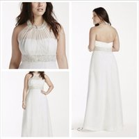 Wholesale Halter Drop Waist Wedding Dress - 2016 Chiffon A-Line Wedding Dresses Halter neckline Beaded decorations in the neckline and waist 9OP1243 Plus Size Gowns