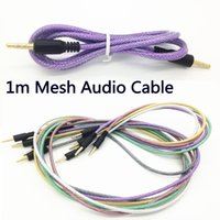 Wholesale Cable Iphone Mini Jack - Rubber Tube Audio AUX Cable 3.5mm Fishing Net Mesh Jack Auxiliary Stereo Male To Male Braided 1m 3ft Cord for Iphone 5 6 Mini Speaker MP3