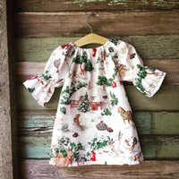 Wholesale Wholesale White Dressing Gowns - Everweekend Kids Girls Western Christmas Festival Holiday Dress Elk Deer Party Dress Baby Girls Ins Hot Cotton Dress