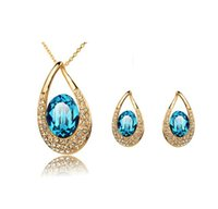 Wholesale Aqua Jewelery - Earring and necklace set american and european style crystal concise elegant summer concise jewelery set LG166