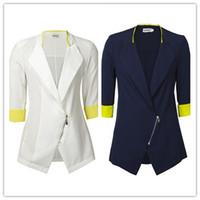Wholesale Tunic Foldable Sleeve - 2016 New Women's Suit Blazer Tunic Foldable Jacket Women Ladies Office Clothes Zipper Cardigan Coat Outerwear