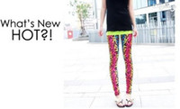 Wholesale Tattoos Lycra - Hot sale Leopard grain color Women Fashion Sexy Tattoo look tight Legging Jeggings free shipping WY201 150P