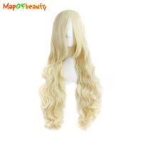 Mapofbeauty Long Loose Wave pelo sintético 32 pulgadas 80cm Ligth Blonde peluca Nautral Cosplay Girls Costume Party Womens Falso Peruca