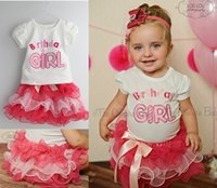 Wholesale girls layered skirts - 10pcs INS Baby Toddler Girls birthday t shirt skirts set 2PCS SET white Birthday tee shirt Bow tutu layered cake tutu layers skirts