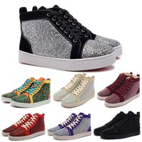 Wholesale Womens Louboutin Shoes - Rhinestone Mens & Womens Casual louboutin Shoes Red Bottom Multi Color high top Luxury Brand Flats Sneaker Fashion Design Summer Autum shoes