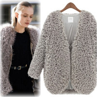 Wholesale Wholesale Capes For Women - Wholesale-Promotion Sale Fall Fashion Trendy Fluffy Coats Shaggy Faux Fur Cape Cardigan Jacket For Women Elegant Outwear Windbreaker