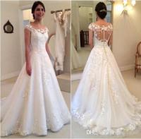 Wholesale Discount Little White Dresses - 2016 Sheer Lace Little Cap Sleeves A Line Wedding Dresses Discount Vestidos De Novia Sexy Illuiosn Button Back A-line Long Bridal Gowns