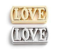 yüzen klozet takılar gümüş plaka toptan satış-20 Adet / grup Gümüş Altın Kaplama Alaşım AŞK Mektubu Yüzer Pencere Plakaları 30mm Manyetik Cam Charms Locket Için Fit