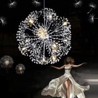Wholesale European Led Crystal Chandeliers - Droplight 47CM European Luxury Creative Dandelion LED Crystal Chandeliers Modern Minimalist K9 Crystal Pendant Lamp Living Room Lights