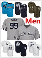Wholesale Navy Blue Stars - Mens Yankees 99 Aaron Judge Baseball Jersey Navy Blue White Gray Grey 2017 All Star Players Weekend Green Salute Team Logo