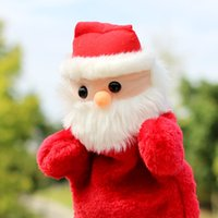 Wholesale santa puppets resale online - New Cute Christmas Hand Puppet Dolls Toys CM Santa Stuffed Dolls Finger Hand Puppet For Baby Gifts IC866