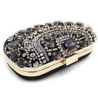 Wholesale Cheap Diamond Rhinestones - New Fashion 2017 Latest Royal Blue Velour Flap Evening Hand Bags For Women Cheap Rhinestone Diamonds Hasp Clutch Bags