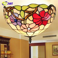 Wholesale Vintage Flower Lamp - FUMAT Flower Shade Ceiling Lamp Art Stained Glass Vintage Tiffany Lights Living Room LED Creative Home Deco Ceiling Lights