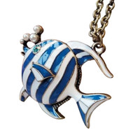 Wholesale Tropical Fish Pendant - Tropical fish necklace pearl necklace Retro chain Handmade jewelry free shipping