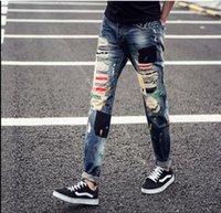 Wholesale Hip Hop Jeans For Sale - Hip Hop Jeans For Men Boys Jeans Trousers Sale Patchwork Jeans Fashion Styles For Men Straight Jeans Free Ship