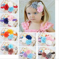 Wholesale Baby Flower Headband Diamond - Kids Girls Baby Headband Infant Toddler Bow Flower Hair Band Accessories Headwear Head piece With Diamond KHA50