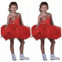 Red Beaded Infant Girls Short Skirts Toddler Mini Abiti Tutu Little Girls cinghie Pageant Cupcake Abiti bambini Occasioni formali