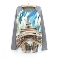 Wholesale Eiffel Tower Clothing - NEW Fashion 3D Eiffel Tower print women sweatshirt 2016 long sleeve tracksuit girls Autumn casual clothes wholesale pullover drop shipping
