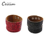 Wholesale personalized button bracelets resale online - Fashion casual personalized rhinestone wide leather bracelets bangles wrap adjustable bracelet wristbands for women snap button Jewelry