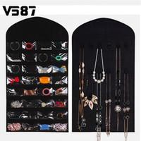 Wholesale Hanging Jewelry Dress - Wholesale- 32-Pocket Hanging Jewelry 18 Stickers Organizer Sides Space-saving Household Accessory Jewelry Closet Dress Storage Bag