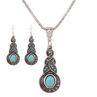 Wholesale Bohemia Pendant Lighting - European Fashion Bohemia Antique Metal Crystal Stone Pendant Necklace Earrings Jewelry Sets For Women New Design