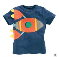 Wholesale Planes Shirts - 2016 Summer New Boy T-shirts Children Plane Blue Cartoon Cotton Fashion Short Sleeve T-shirts 1-6T 50173