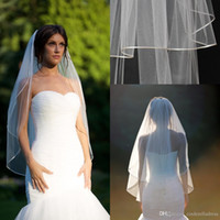 "Wholesale Bridal Veils Ivory Two Tier - 2015 Short Fingertip veil blusher double tier fingertip veil with 1 8"" corded satin trim satin cord trim Bridal veils ivory muslim veils"