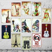 Wholesale Colorful Metal Wall Art - 8Pcs Set Wholesale Colorful guitar landmarks poster Tin sign Retro Metal Painting Cafe Garage Bar Home decoration Vintage Wall Art Picture
