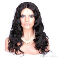 ingrosso candeggina personalizzata-Parrucche anteriori del merletto umano di Remy Wave del corpo con i capelli del bambino Capelli vergini peruviani vergini Parrucche dei capelli umani Nodi della candeggina Parrucche di ordine su ordinazione