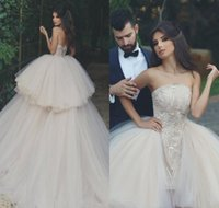 Wholesale Strapless Puffy Wedding Dresses - 2018 Vintage Arabic Dubai Princess Wedding Dress Puffy Tulle Lace Appliqued Backless Long Tulle Bridal Gown Plus Size Custom Made