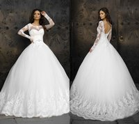 Classic Lace Ball Gown Vestido de casamento A-Line Sheer Boat Neckling Long Sleeve Beaded Sash Backless Pavimento Comprimento Bridal Wedding Gowns Custom