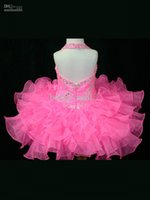 Wholesale Cheapest Girls Shorts - 2017 Cheapest Beaded Girls Pageant Gowns Shining Sequins Kids Prom Dresseshalter Ruched Halter Beads Organza flower girl dress