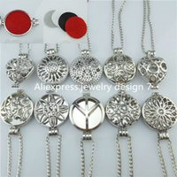 Wholesale Round Cage Necklace - Wholesale-25mm Heart 30mm Round Silver Box Cage Pad Plate Locket Necklace Perfume Fragrance Essential Oil Aromatherapy Diffuser