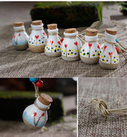 Wholesale Porcelain Flower Pendant - Essential oil diffuser necklaces flowers small vial pendant necklace aromatherapy pendant vintage wishing perfume bottle pendant necklaces