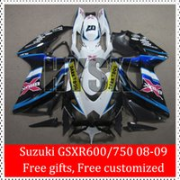 Dom gratuito Kit ABS carenagem para 2008 2009 SUZUKI GSXR600 GSXR750 08 09 GSX-R750 Dark Dog GSX-R600 K8 GSXR 600 750 Black White Carroçaria